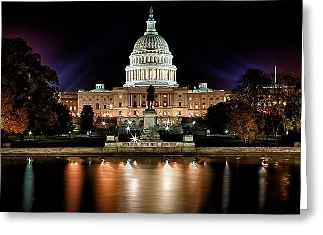 Nighttime Greeting Cards - US Capitol Building and Reflecting Pool at Fall Night 3 Greeting Card by Val Black Russian Tourchin
