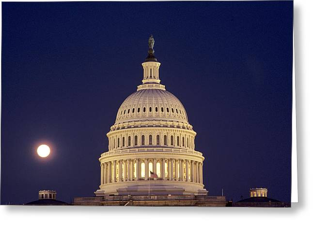 U.s. Capitol Building Lit Greeting Card by Kenneth Garrett