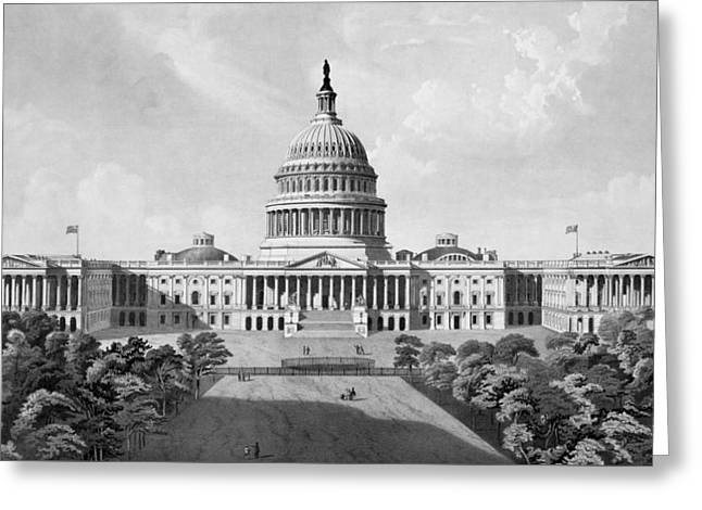 Us Capitol Greeting Cards - US Capitol Building Greeting Card by War Is Hell Store