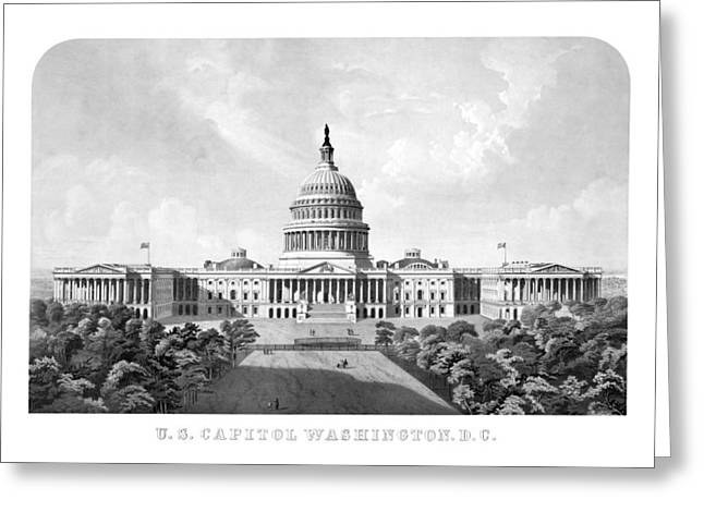 Historic Architecture Mixed Media Greeting Cards - US Capitol Building Washington DC Greeting Card by War Is Hell Store