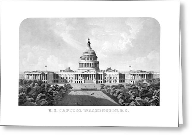 Us Capital Mixed Media Greeting Cards - US Capitol Building - Washington DC Greeting Card by War Is Hell Store