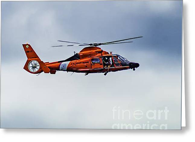 Military Airplanes Greeting Cards - U.S. Coast Guard Helicopters Greeting Card by Nick Zelinsky