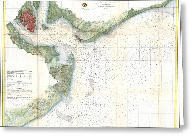 Nautical Chart Greeting Cards - US Coast Survey Nautical Chart of Charleston Harbor South Carolina Greeting Card by Celestial Images