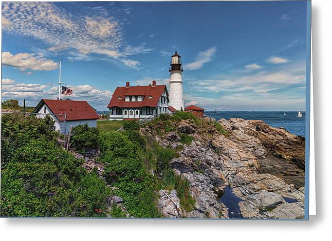 Us Flag At Half Staff At Portland Head Lighthouse Greeting Card by Brian MacLean