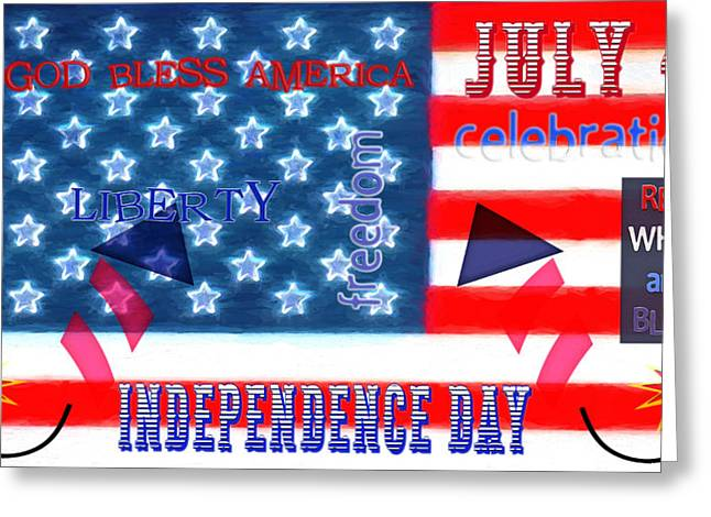 4th July Mixed Media Greeting Cards - U.S. Flag - July 4th Graphic Greeting Card by Steve Ohlsen