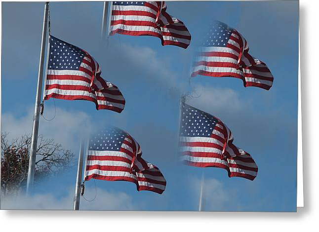 Image Repeat Greeting Cards - US Flag Repeats Greeting Card by Linda Phelps