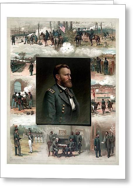 U S Presidents Greeting Cards - US Grants Career In Pictures Greeting Card by War Is Hell Store