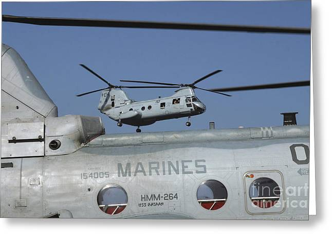 Ch-46 Greeting Cards - U.s. Marine Corps Ch-46 Sea Knight Greeting Card by Stocktrek Images