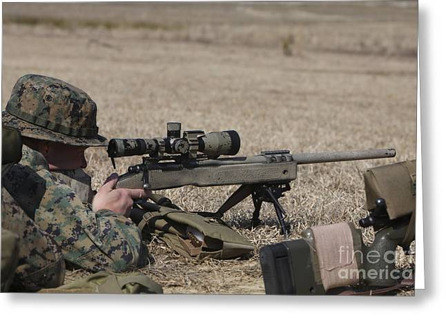 7.62mm Greeting Cards - U.s. Marine Fires His M40a3 7.62mm Greeting Card by Stocktrek Images