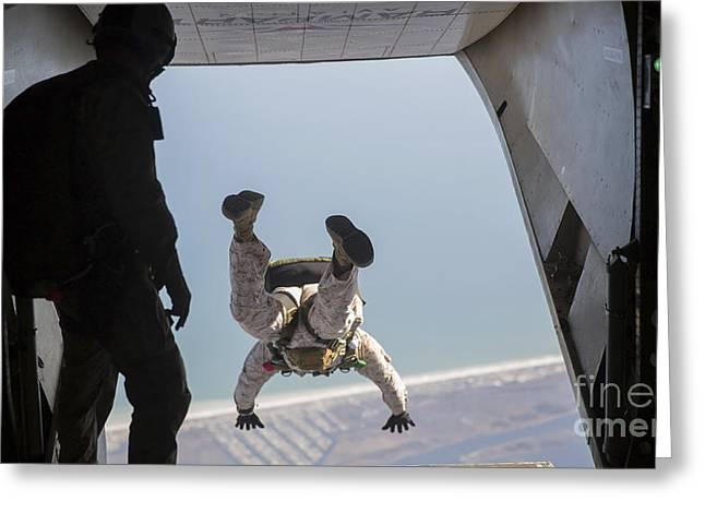 Reconnaissance Greeting Cards - U.s. Marine Jumps Out The Back Of An Greeting Card by Stocktrek Images