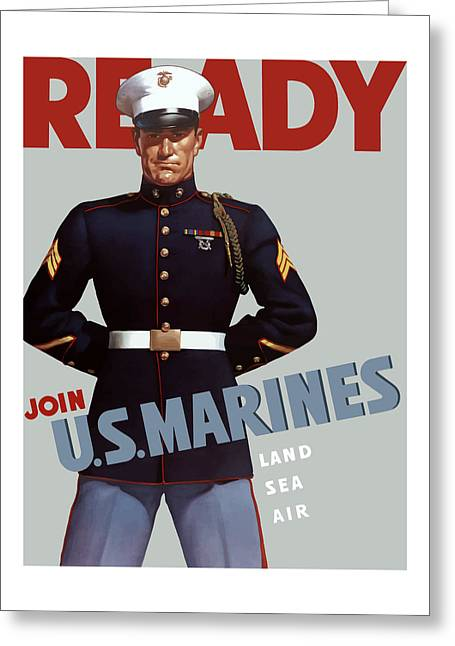Veteran Art Greeting Cards - US Marines Ready Greeting Card by War Is Hell Store