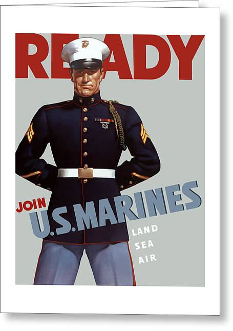Patriotic Art Greeting Cards - US Marines - Ready Greeting Card by War Is Hell Store