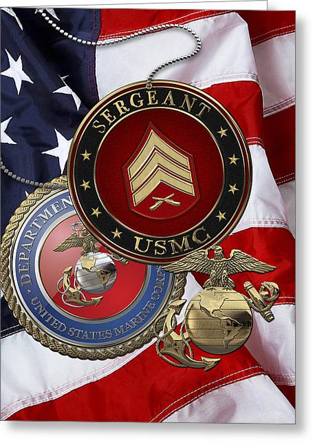 Collar Greeting Cards - U.S. Marines Sergeant - USMC Sgt Rank Insignia over American Flag Greeting Card by Serge Averbukh