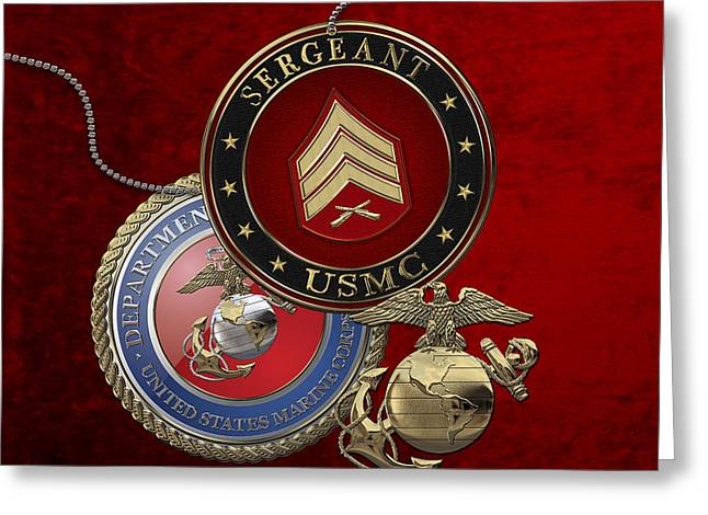 Cap Sleeves Greeting Cards - U.S. Marines Sergeant - USMC Sgt Rank Insignia over Red Velvet Greeting Card by Serge Averbukh