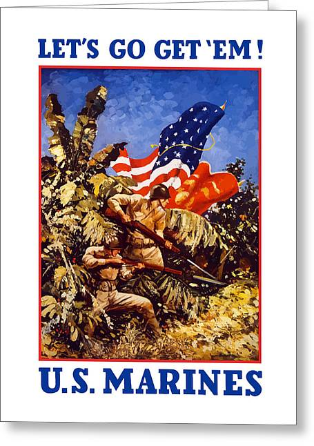 Us Marines - Ww2  Greeting Card by War Is Hell Store