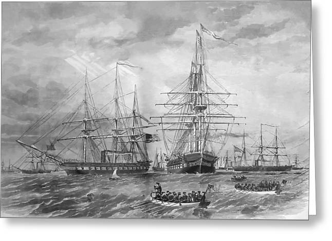 Clippers Digital Art Greeting Cards - U.S. Naval Fleet During The Civil War Greeting Card by War Is Hell Store