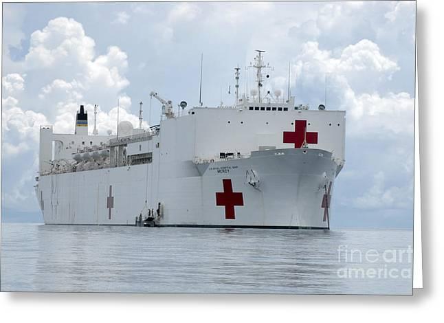 Humanitarian Greeting Cards - U.s. Naval Hospital Ship Usns Mercy Greeting Card by Stocktrek Images