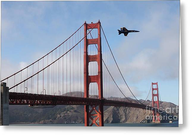 Frisco Pier Greeting Cards - US Navy Blue Angels Crossing The San Francisco Golden Gate Bridge - 5D18926 Greeting Card by Wingsdomain Art and Photography