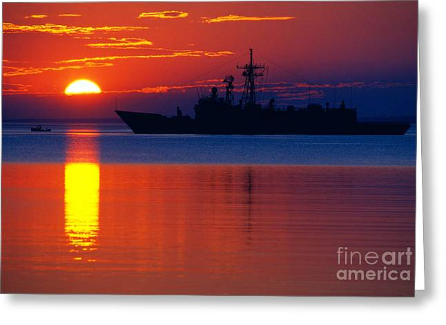 Us Navy Destroyer At Sunrise Greeting Card by Thomas R Fletcher