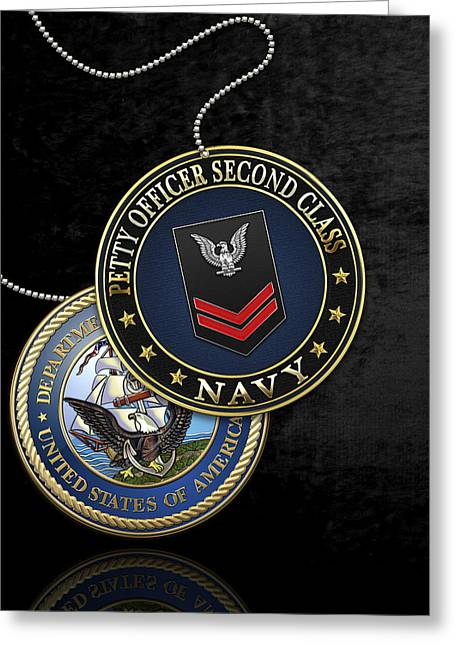 Cap Sleeves Greeting Cards - U.S. Navy Petty Officer Second Class - PO2 Rank Insignia over Black Velvet Greeting Card by Serge Averbukh