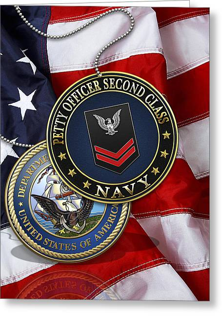 Cap Sleeves Greeting Cards - U.S. Navy Petty Officer Second Class - PO2 Rank Insignia over US Flag Greeting Card by Serge Averbukh