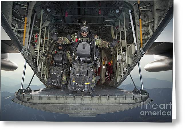 C-130 Greeting Cards - U.s. Navy Seals Combat Diver Prepares Greeting Card by Tom Weber