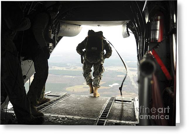 Drop Zone Greeting Cards - U.s. Navy Seals Jump From A Ch-46e Sea Greeting Card by Stocktrek Images