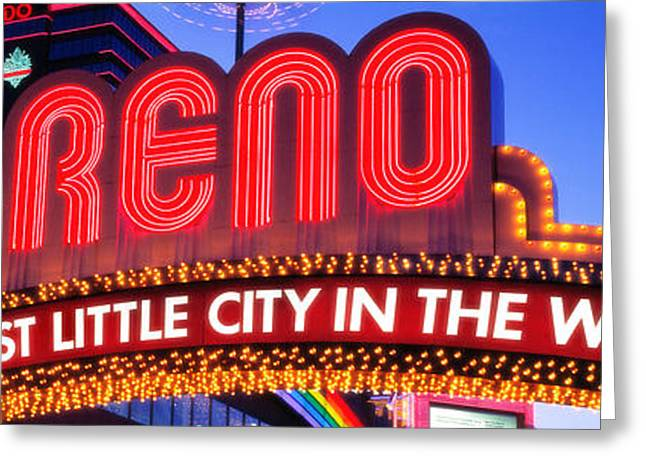 Brightly Lit Greeting Cards - Us, Nevada, Reno Greeting Card by Panoramic Images