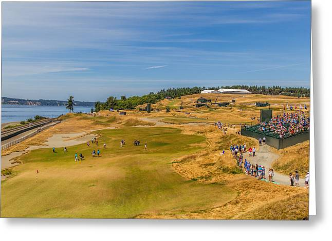 Us Open Photographs Greeting Cards - US Open Chambers Bay Hole 16 Greeting Card by Mike Centioli