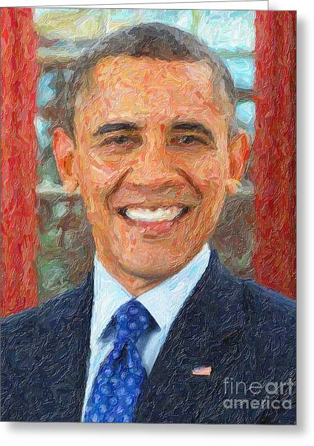 President Obama Greeting Cards - U.S. President Barack Obama Greeting Card by Celestial Images
