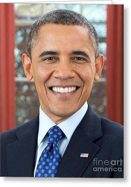 President Obama Greeting Cards - U.S. President Barack Obama  Greeting Card by MotionAge Designs