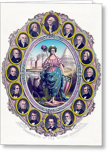 Adam Greeting Cards - US Presidents and Lady Liberty  Greeting Card by War Is Hell Store