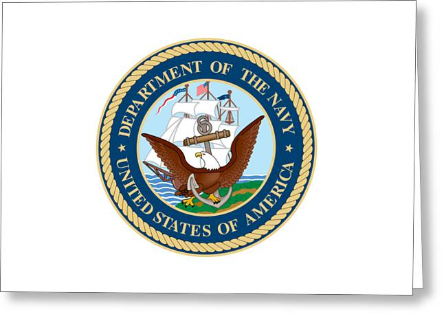 Seal Drawings Greeting Cards - U.S. Seal Department of the Navy Greeting Card by Pg Reproductions