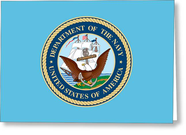 Us Navy Drawings Greeting Cards - U.S. Seal Department of the Navy Greeting Card by Pg Reproductions