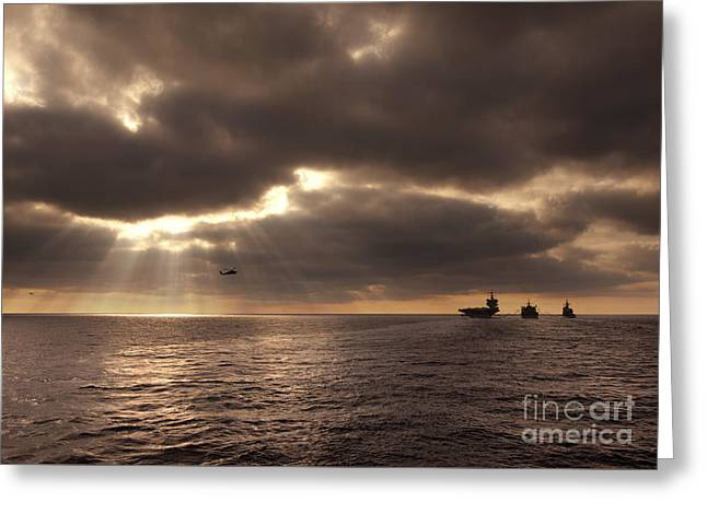 Enterprise Paintings Greeting Cards - U.S. ships participate in an replenishment at sea Greeting Card by Celestial Images