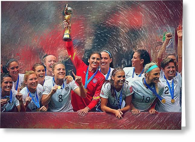 Us Women's Soccer Greeting Card by Semih Yurdabak