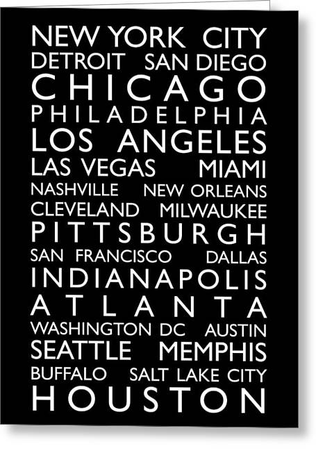 Usa Map Digital Greeting Cards - USA Cities Bus Roll Greeting Card by Michael Tompsett