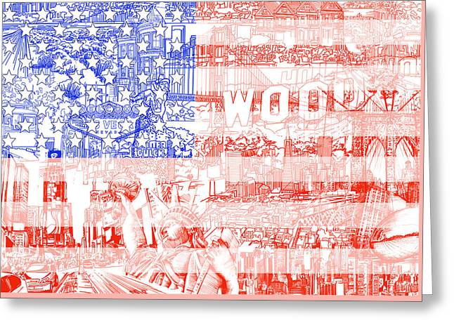 4th July Digital Greeting Cards - Usa flag 1 Greeting Card by MB Art factory