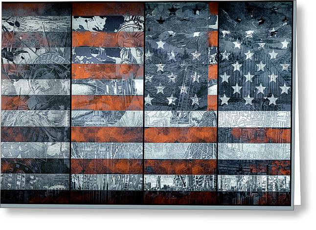 Flag Of Usa Greeting Cards - Usa flag 12 Greeting Card by MB Art factory
