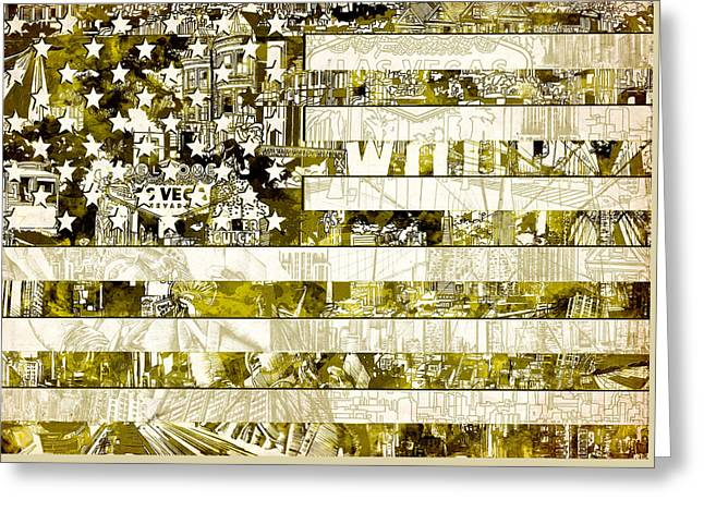 4th July Greeting Cards - Usa flag 13 Greeting Card by MB Art factory
