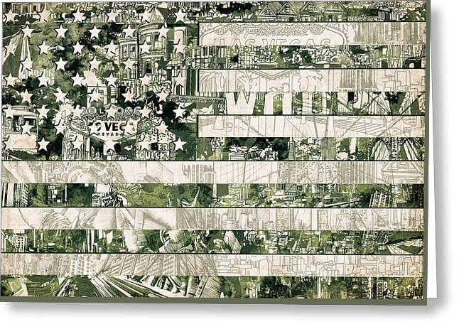 4th July Greeting Cards - Usa flag 15 Greeting Card by MB Art factory
