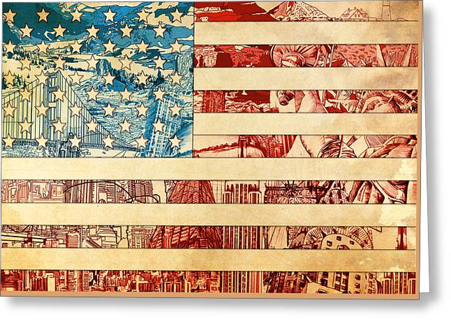Flag Of Usa Greeting Cards - Usa flag 2 Greeting Card by MB Art factory