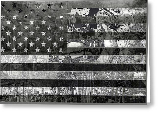 Flag Of Usa Greeting Cards - Usa flag 4 Greeting Card by MB Art factory