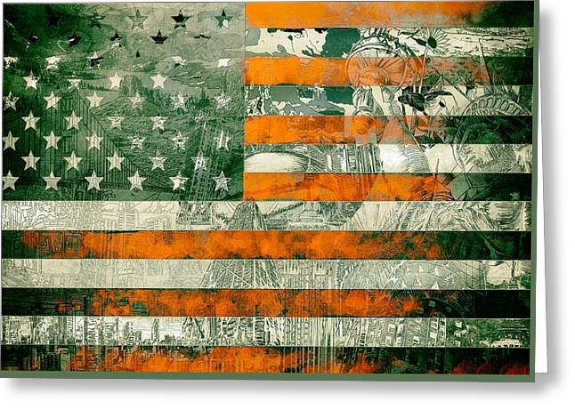 Flag Of Usa Greeting Cards - Usa flag 5 Greeting Card by MB Art factory