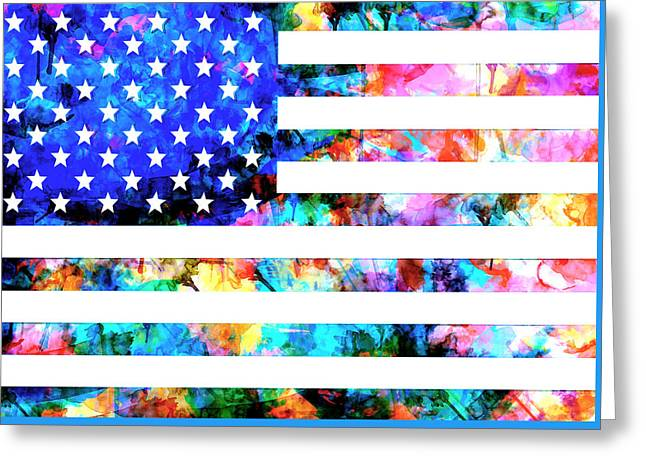 4th July Digital Greeting Cards - Usa flag 6 Greeting Card by MB Art factory