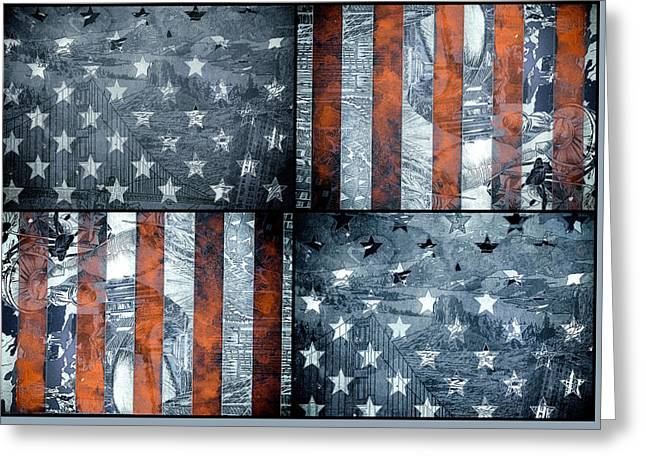 Flag Of Usa Greeting Cards - Usa flag 7 Greeting Card by MB Art factory