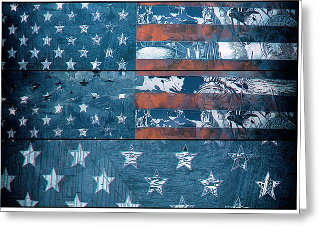 Flag Of Usa Greeting Cards - Usa flag 8 Greeting Card by MB Art factory