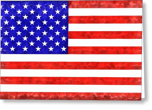 Usa Flag  - Acrylic Style -  - Pa Greeting Card by Leonardo Digenio