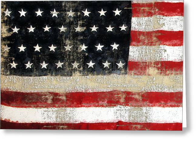 Usa Digital Art Greeting Cards - USA Flag Distressed Pattern Ginkelmier Inspired Greeting Card by Christina VanGinkel