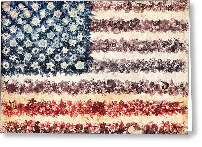 4th July Greeting Cards - Usa flag floral 3 Greeting Card by MB Art factory